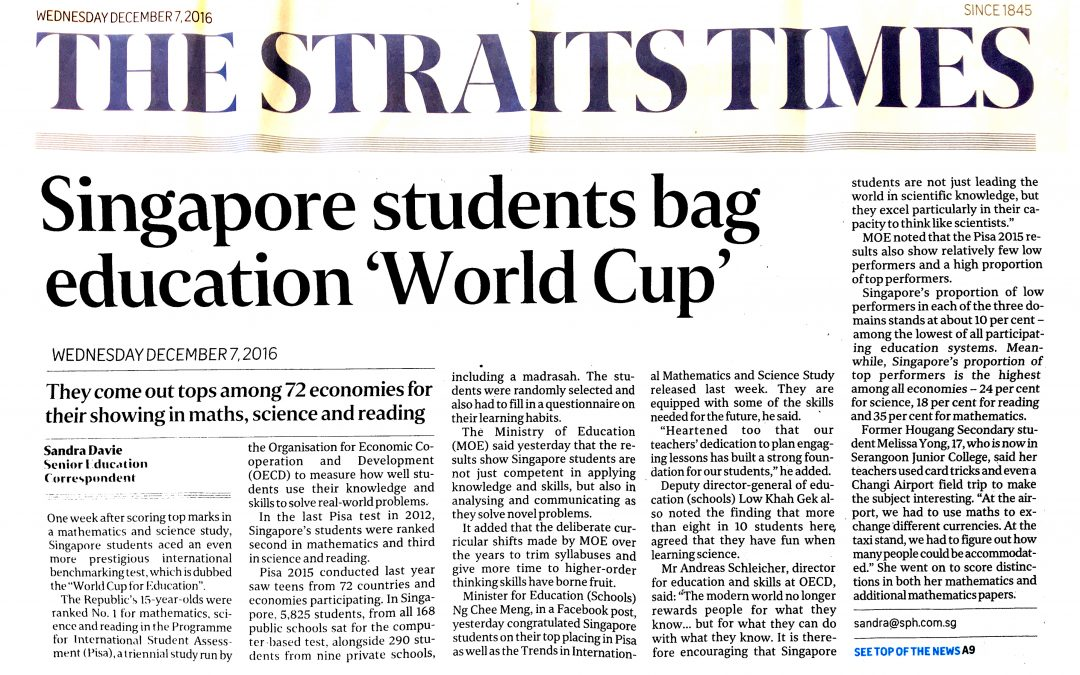 "Singapore students bag education ""World Cup"""